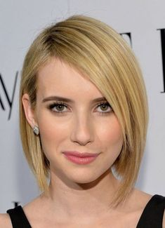 Emma Roberts Asymmetrical Long Bob Swept Long Bangs