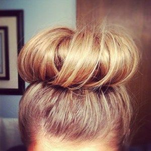 workout hairstyle donut bun