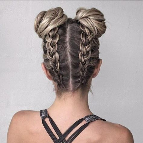 workout hairstyles braids with buns
